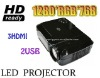 120W LED Projector,Native 720P Projectors with 3HDMI 2USB(Support Hard Disk), VGA (PC), Composite AV, S-video, YPBPR, Audio out