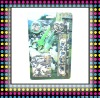 Fashion Plastic Stationery Set In Blister Card,Green Color