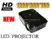 HD Ready 720P 16:9 HDTV Led Projector Double USB terminal Support video files Off-line Play