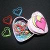 Heart shape paper clip with heart shape tin box