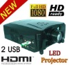 LED Home Theater Projector with 3HDMI+2USB+VGA+AV+YPbPr/YCbCr, LED lamp lasts 50000 hours