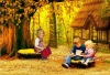 Lovely kids printed canvas painting