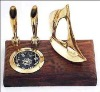 Polished brass nautical theme pen holder with compass
