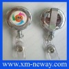 retractable pull reel chrome plated badge holder with printing your logo