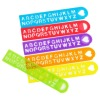 transparent colorful straight plastic ruler with letter punched