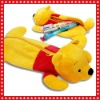 yellow sleeping bear plush animal shape pencil case